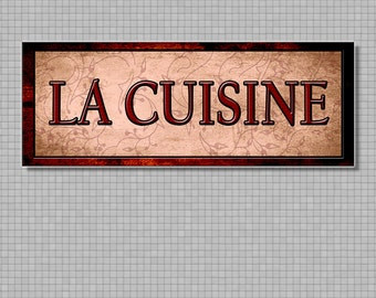 Special Fine Art, French  Language La CuisineThe Kitchen Decor For Your Home. 16 by 6 inches Mounted and Ready To Hang. Free Ship