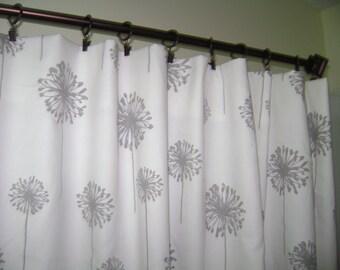 Grey Dandelion Curtain Panels, Grey Dandelion Window Treatment