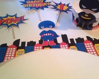 Super Hero Cupcake Wrappers and Toppers x12