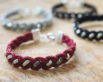 Friendship Bracelet, Best Idea Brithday Gift, Leather bracelet, hexagon nuts bracelets, Rock style, Gift for teenage, Gift idea - Red Velvet