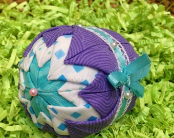 Folded fabric quilted christmas ornament with woven ribbon folded fabric ornament quilted holiday ornament turquoise purple bow lace negle Gallery