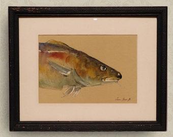 PRINT-Cod fish watercolor painting print  fish  - Art Print by Juan Bosco