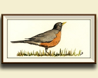 PRINT-American robin bird  song print watercolor forest -  Art Print by Juan Bosco