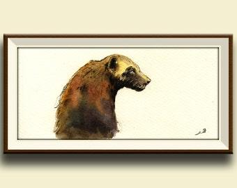 PRINT-Wolverine print farm animal watercolor print  head portrait - Art Print by Juan Bosco