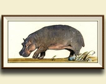 PRINT-Hippo african - animal art wall decor- africa safari nursery from watercolor painting-Art Print by Juan Bosco