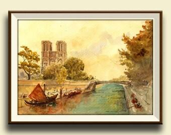 PRINT-Paris Notre Dame Seine river France architecture cityscape- Paris artwork print wall decal- French decor Paris-Art Print by Juan Bosco