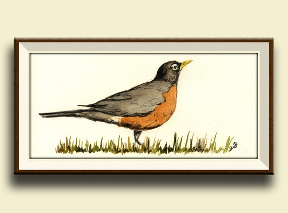 PRINT-American robin bird song print watercolor forest Art