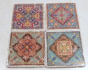 Moroccan Tile coaster set - Travertine coasters -  Moroccan tile - Marble Coasters - Decorative tile coasters - Stone Coasters