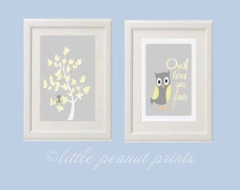8x10 or 11x14 Set of Two Owl Nursery Art Prints | Grey and Yellow Nursery Decor