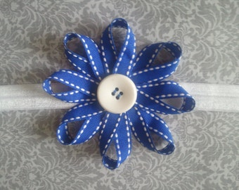 Sunburst Flower, Baby Headband, choose 1 color, Red/Pink/Blue/Yellow/Black Flowers