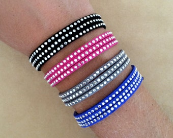 Faux Leather Flat Suede Swarovski Crystal Rhinestone Friendship Bracelet - Macrame Bracelet, Adjustable, Wrap Bracelet, Silver Plated