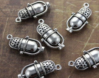 10 Microphone Charms Music Instruments Charms Microphone Pendants Antiqued Silver Tone  13 x 23mm