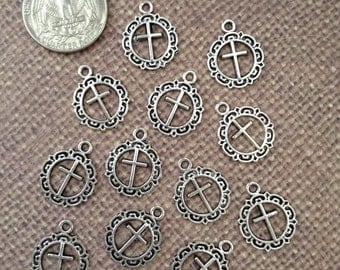 12x Cross Charms - Antique Silver