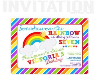 Rainbow Invitation, Rainbow Party, Rainbow Birthday Invitation, Rainbow Birthday, Rainbow Birthday Party, Rainbow Invites, Rainbow Baby |524