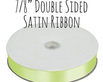 "CLEARANCE Apple Green Satin Ribbon, 7/8"" Double Faced, 50 yard spool"
