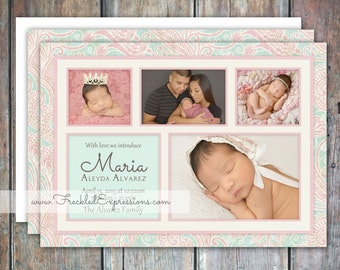 Baby Girl Birth Announcement-Blocks