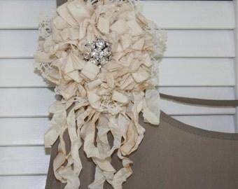 Shabby chic Flower Brooch, Fabric Flower Brooch, Rustic flower