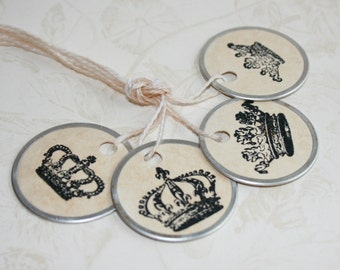 "Petite Crown Gift Tags, 1"" metal rimmed tags, Vintage Style Tea Stained gift tags"