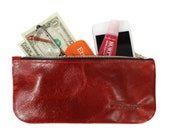 Women's Wallet, Red Leather Wallet, Zip Top Wallet, Leather Zipper Wallet, Red Zipper Wallet, Red Glasses Case, Leather Glasses Case,
