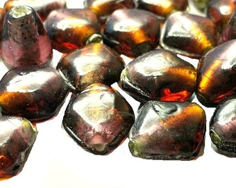 Amber and Amythest Glass Bead Mix Destash Jewelry Making Craft Supplies