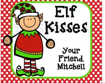 Elf kisses favor tags