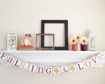 Falling In Love Banner - Fall Wedding Decoration - Bridal Shower Decor - Autumn Wedding Sign - Fall Wedding Banners - Fall In Love Sign