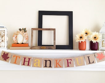 Thankful Banner, Thanksgiving Decorations, Thankful, Thanksgiving decor, Fall Bunting, Thanksgiving Hostess Gift, Glitter Fall Leaves, B046