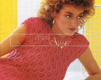 Lady's Lacy Top DK 32-42ins incl Teen Sizes Sirdar 6312 Vintage Knitting Pattern PDF instant download