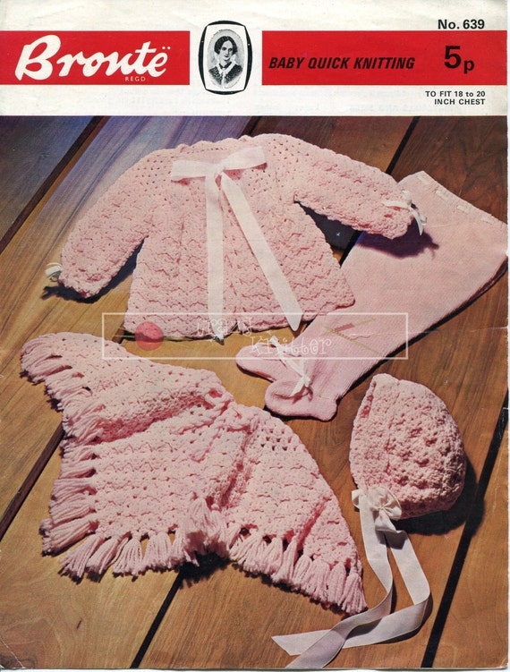 "Baby Set and Poncho 4ply 18-20"" Bronte 639 Vintage Knitting Crochet Pattern PDF instant download"