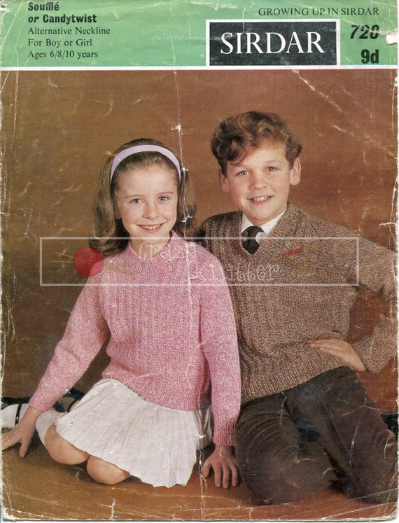 Children's Sweater DK 6-10 years Sirdar 720 Vintage Knitting Pattern PDF instant download