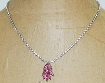 "Pink Crystal Spray Pendant White Rhinestone Collar 18.5"" Statement Necklace"