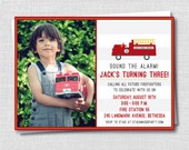 Fire Truck Photo Birthday Invitation - Fire Truck Themed Party - Boy Birthday - Digital Design or Printed Invitations - FREE SHIPPING