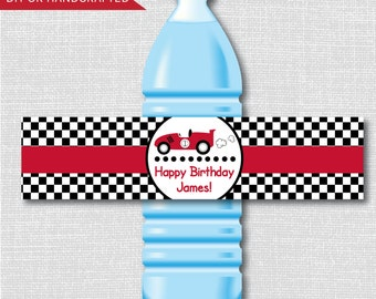 Classic Race Car Party Water Bottle Labels - Boy Race Car Party - Weatherproof Water Bottle Labels - Digital or Handcrafted - FREE SHIPPING