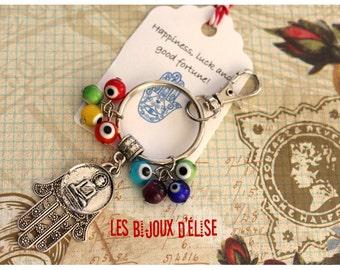 Sale - Yoga Keychain Swastika Buddha Keychain with Chakra evil eyes beads and Hamsa Bag dangle Spirit Helper