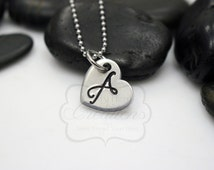 """Hand-Stamped Personalized 0.65"""" HEART Monogram Initial Necklace (Daniela Font)"""