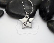 """Hand-Stamped Personalized 0.65"""" STAR Monogram Initial Necklace (Daniela Font)"""
