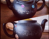 UNIQUE TEA TIME! Solar System Galaxy Milky Way Hand Painted Teapot