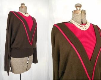 Vintage 1970s Sweater - 70s Brown Pink Boho Bat Wing Color Block Sweater