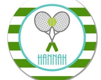 personalized Melamine Plate - custom melamine dish stripe tennis