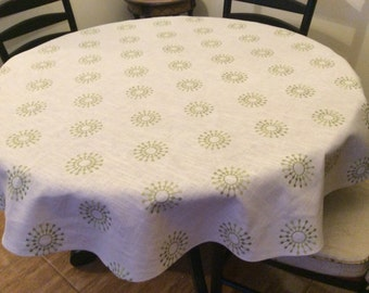 "54"" 100% linen starbust round tablecloth"