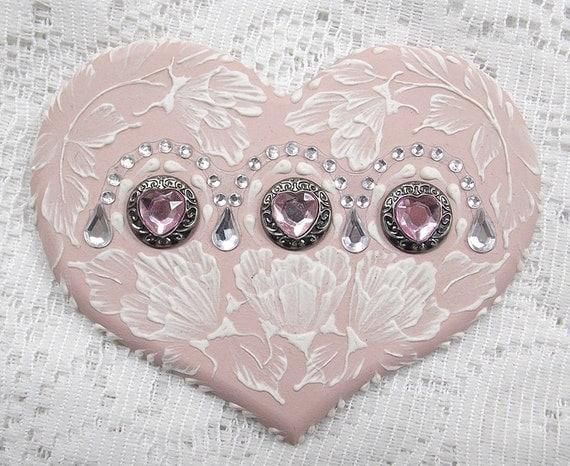 Hand Painted Soft Pink MUD Roses Cookie with Rhinestone Bling 22