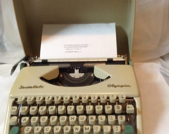Vintage Typewriter Socialite Olympia Portable 1960s Decor Office Wedding guest book manual Gift Industrial mid century typing carrying case