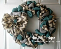 Blue Burlap Wreath