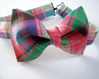 Plaid Pastel Bow Tie-Blue/Purple Pink Plaid Bow Tie-Bow Tie-Pastel Plaid Bow Tie-Bow Tie-Sherbert Plaid Bow Tie-Men's Bow Tie-Boy's Bow Tie