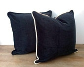 """Charcoal Grey Velvet Throw Pillow Cover 18"""" by 18"""", Velvet Cushion Cover with White Trim, FREE SHIPPING"""