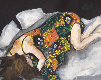 Restful - Fine Art Print, figure painting, flowers, dress, giclee art