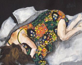 Restful - Fine Art Print, figure painting, flowers, dress, giclee art