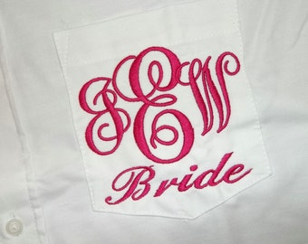 Ladies Monogrammed Big Shirt with Embroidered Pocket For Bride, Monogram Mens Button Dress Shirt Bride Bridesmaids Swimsuit Cover up