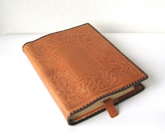 Old Book Cover Notebook : Leather book cover vintage embossed notebook estonia