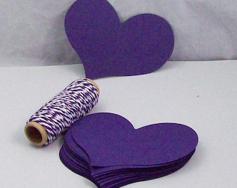 25 Large Valentine  Tags, Purple Heart Gift Tags,   Heart Tags, Heart Gift Tags, Wedding Tags, Favor Tags, Card Making, Scrapbooking
